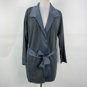 NWT August Max Woman Grey Wool Blend Knit Cardigan